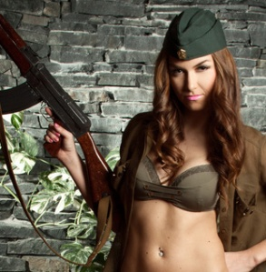 Beautiful brunette as a soldier