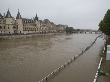 France: Seine river overflows docks near the Alma bridge
